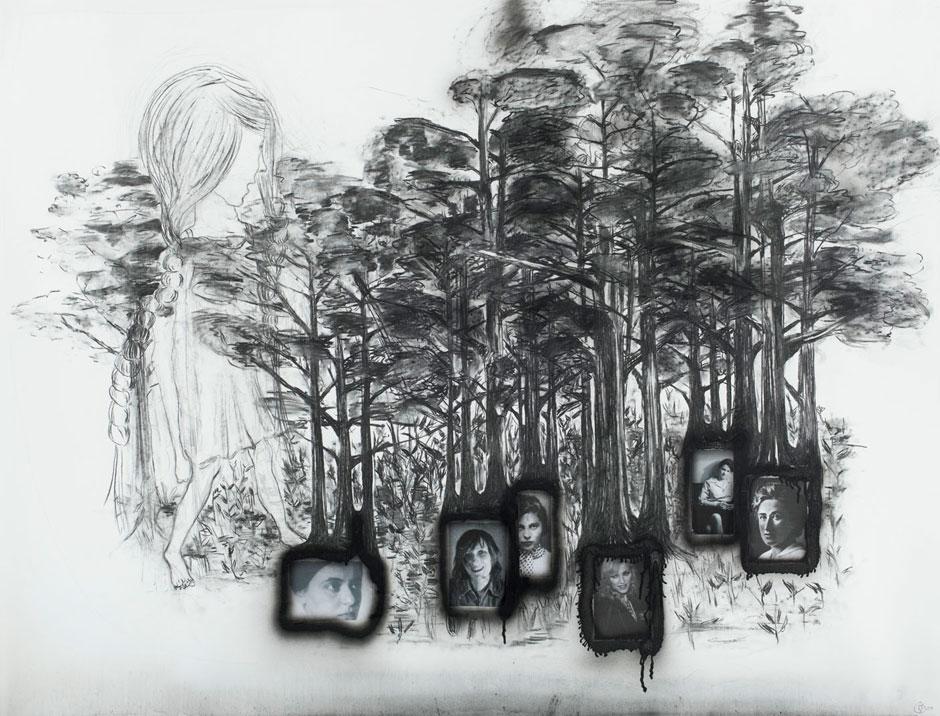 Manfred Schneider, Ohne Titel, 2008, Kohle, Lack und Collage auf Papier, 110 x 150,5 cm