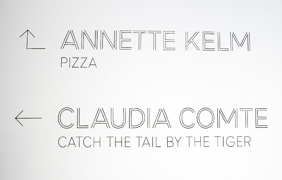 Visit to PIZZA by Annette Kelm & CATCH THE TAIL BY THE TIGER by Claudia Comte