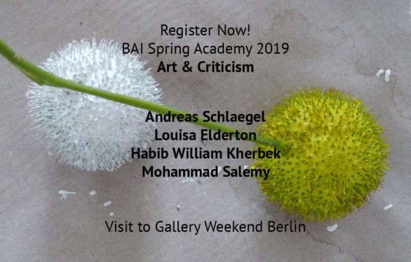 Jetzt anmelden ! BAI FRÜHLINGSAKADEMIE & GALLERY WEEKEND BERLIN 2019